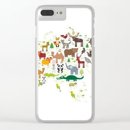 Eurasia animal bison fox wolf horse camel seal Walrus goats Polar bear Eagle bull raccoon snake bear Clear iPhone Case