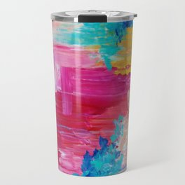 ELATED - Beautiful Bright Colorful Modern Abstract Painting Wild Rainbow Pastel Pink Color Travel Mug
