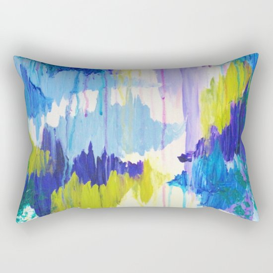 WINTER DREAMING - Jewel Tone Colorful Eggplant Plum Periwinkle Purple Chevron Ikat Abstract Painting Rectangular Pillow