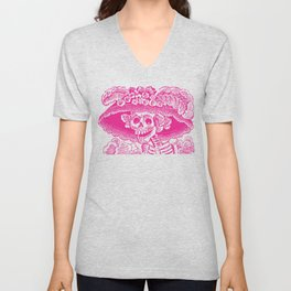 Calavera Catrina | Pink and White Unisex V-Neck