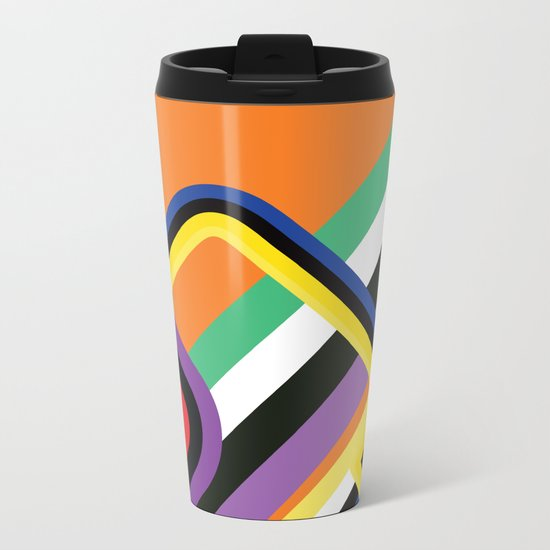 60s Geometric Shapes Metal Travel Mug