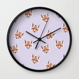 Fox Pastel Purple Pattern, Woodland Baby Animals, Nursery Animals Baby Girl Room Decor Wall Clock