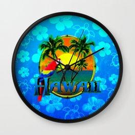 Hawaii Sunset Blue Honu Pattern Wall Clock