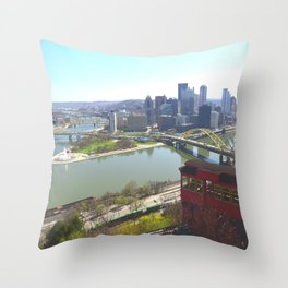Downtown Pittsburgh point and incline 32 Throw Pillow