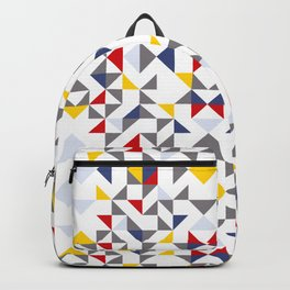 Geometric Pattern Vibes in White Backpack