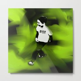 Riot On Green Metal Print