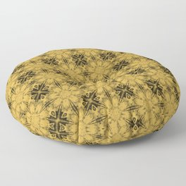 Spicy Mustard Floral Geometric Floor Pillow
