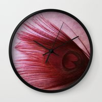 peacock feather Wall Clocks featuring Peacock Feather  by KunstFabrik_StaticMovement Manu Jobst