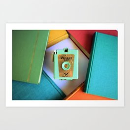 vintage Camera and books Art Print