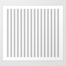 Mattress Ticking Wide Striped Pattern in Charcoal Grey and White Art Print