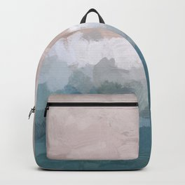 Turquoise Aqua Blue White Dusty Rose Pink Abstract Painting, Modern Wall Art Print, Ocean Sunset Sand Beach Aerial View Backpack