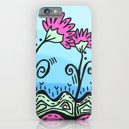 Three Spring Flowers - Blue iPhone Case