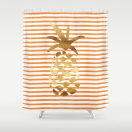 Pineapple & Stripes - Orange/White/Gold Shower Curtain