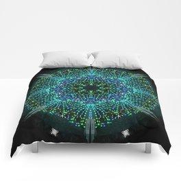 Kaleidoscope fantasy on lighted peacock shape Comforters
