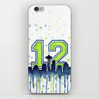 seahawks iPhone & iPod Skins featuring Seattle 12th Man Art Skyline Watercolor  by Olechka