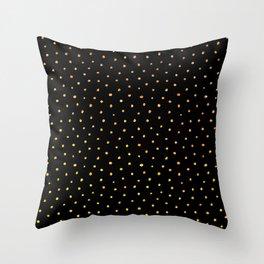 Gold polka dots on black Throw Pillow