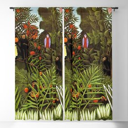 Exotic Jungle Landscape with Monkeys and Birds by Henri Rousseau Blackout Curtain