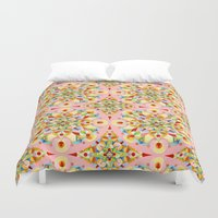 carousel Duvet Covers featuring Pink Carousel by Patricia Shea Designs