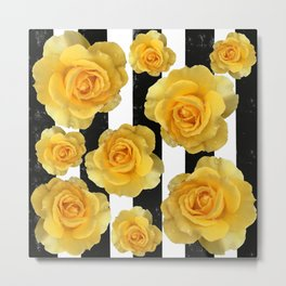Yellow Roses on Black & White Stripes Metal Print