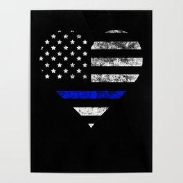 be67442b9f75c Thin Blue Line Police Officer LEO USA America Flag Heart Gift Cop Sherrif  Blue Lives Matter