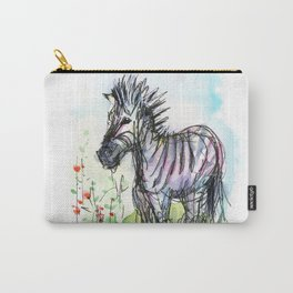 Zebra Whimsical Animal Art Carry-All Pouch