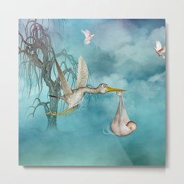 Cute baby comes with stork Metal Print