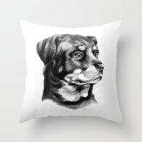 rottweiler Throw Pillows featuring Rottweiler Devotion by Patricia Howitt