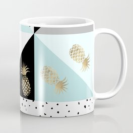 Pastel color block watercolor dots faux gold pineapple Coffee Mug