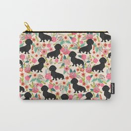 Doxie Florals - vintage doxie and florals gift gifts for dog lovers, dachshund decor, black doxie Carry-All Pouch