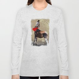 Okapi  with Red Bow Long Sleeve T-shirt