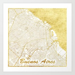 Buenos Aires Map Gold Art Print