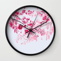 cherry blossoms Wall Clocks featuring Cherry Blossoms  by Catherine Holcombe