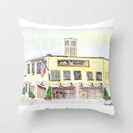 Black Dog Salvage Watercolor, Roanoke, Virginia Throw Pillow