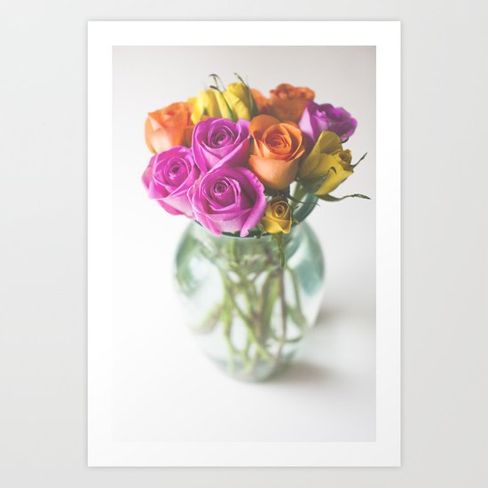 Roses In a Vase[Colour] Art Print