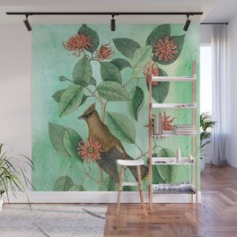 Bohemian Waxwing with Carolina Allspice, Antique Natural History Collage Wall Mural