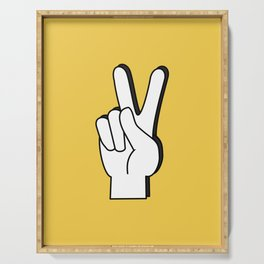 Peace Sign yellow Serving Tray