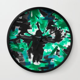 psychedelic vintage camouflage painting texture abstract in green and black Wall Clock