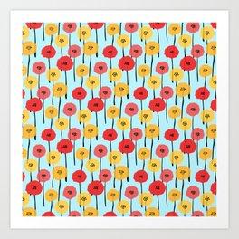 Bright Sunny Mod Poppy Flower Pattern Art Print
