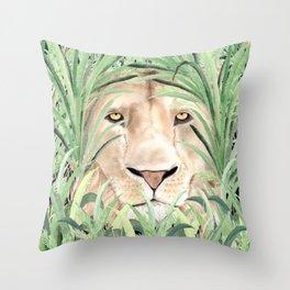 Lion staring through savanna grass, watercolor art.  Throw Pillow