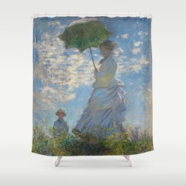 The Walk, Woman with a Parasol by Claude Monet Shower Curtain