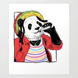 Panda High Smoking Weed Art Print