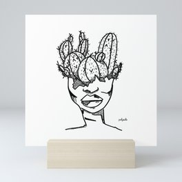 Cactus Head Pot, Strength and Scars by Pablo Rodriguez (Pabzoide) Mini Art Print