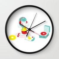 vinyl Wall Clocks featuring Vinyl by Samantha Eynon