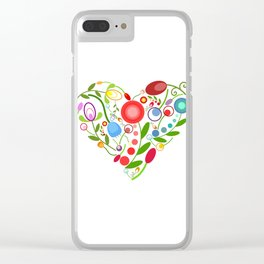 Floral heart Clear iPhone Case