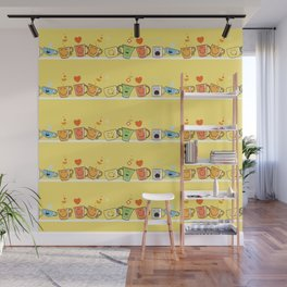 Pattern with cups. Wall Mural