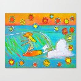Surf Art Hang 5 Retro Lady Cruiser by Surfy Birdy Canvas Print