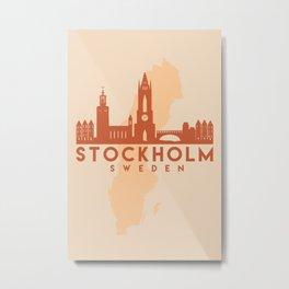 STOCKHOLM SWEDEN CITY MAP SKYLINE EARTH TONES Metal Print