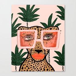 Tropical Glam Cat Canvas Print