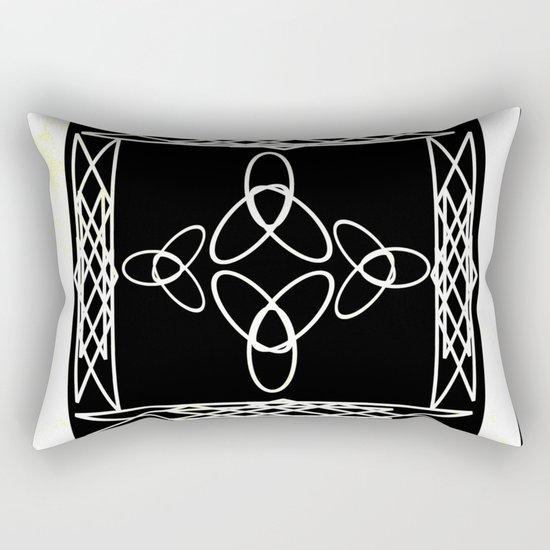 Celtic Deco Black and White Rectangular Pillow