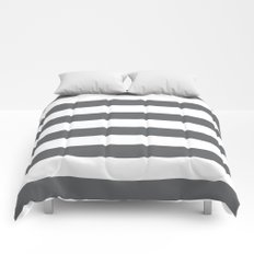 Simply Striped in Storm Gray and White Comforters